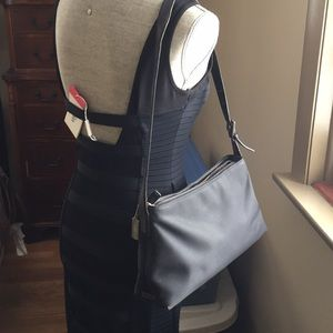 Coach twill bag w leather strap and trim